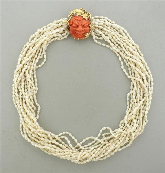 18k Gold Pearl Carved Coral Necklace Brooch