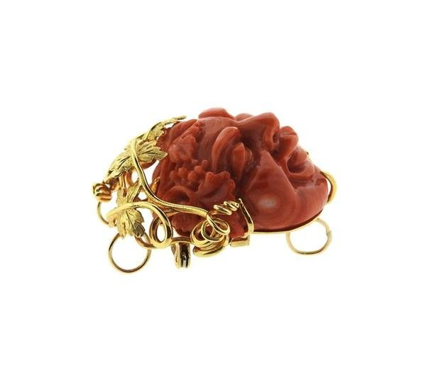 18k Gold Pearl Carved Coral Necklace Brooch - 5