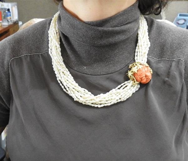18k Gold Pearl Carved Coral Necklace Brooch - 8