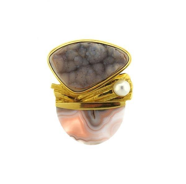 Designer Signed 18k Gold Druzy Agate Pearl Brooch