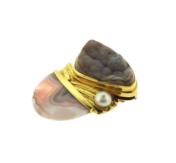 Designer Signed 18k Gold Druzy Agate Pearl Brooch - 2