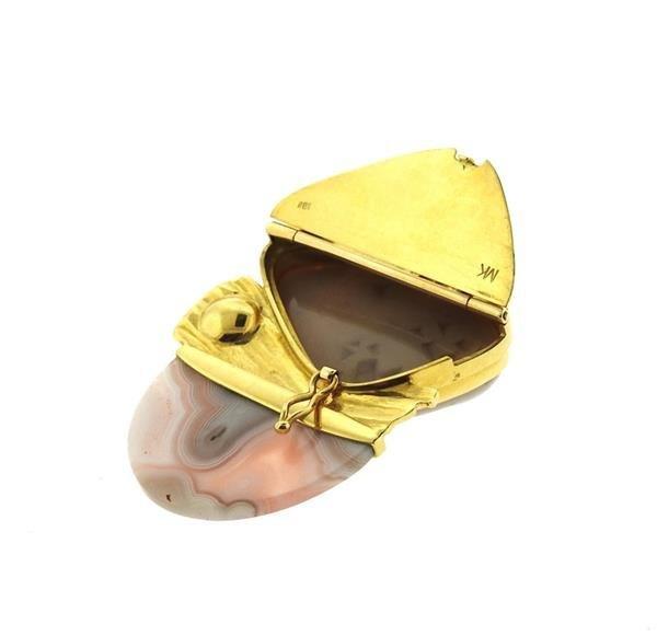 Designer Signed 18k Gold Druzy Agate Pearl Brooch - 4