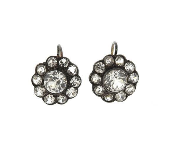 Antique 14k Gold Silver Paste Earrings
