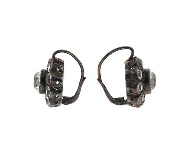 Antique 14k Gold Silver Paste Earrings - 2