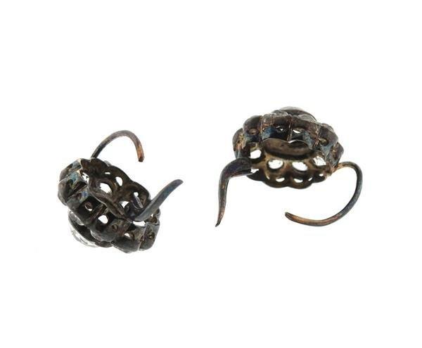 Antique 14k Gold Silver Paste Earrings - 3