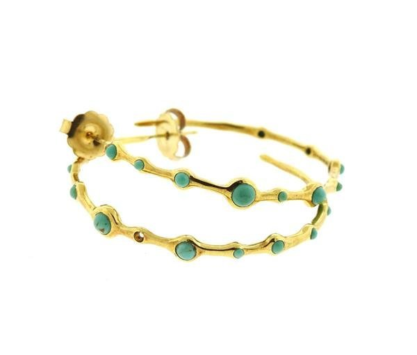 Ippolita 18k Gold Turquoise Hoop Earrings