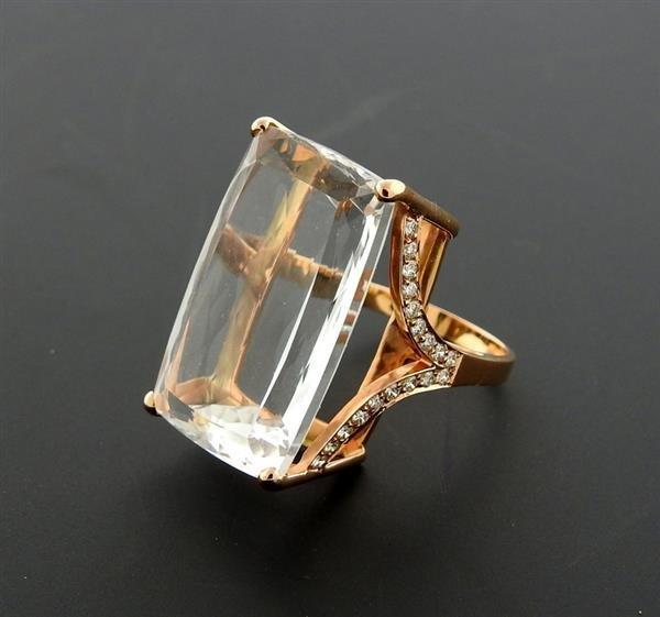 Jack Vartanian 18K Gold Diamond Quartz Cocktail Ring