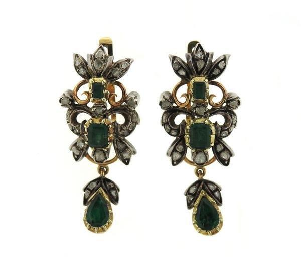 18k Gold Silver Diamond Emerald Drop Earrings