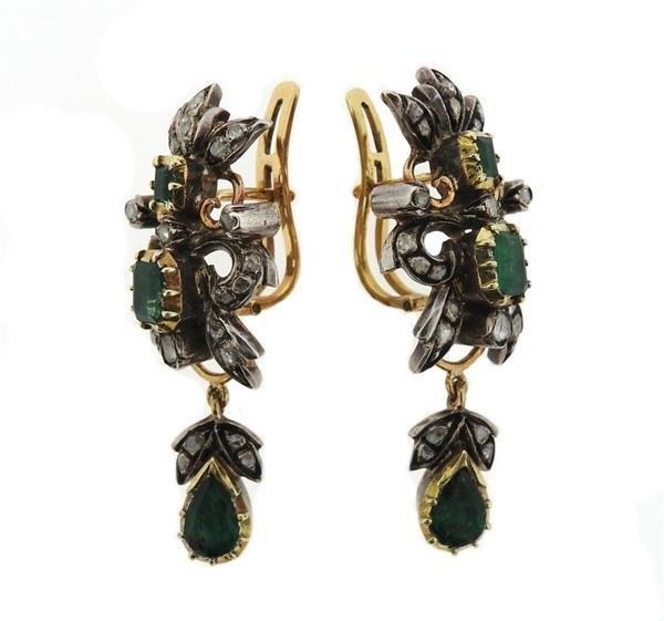 18k Gold Silver Diamond Emerald Drop Earrings - 2