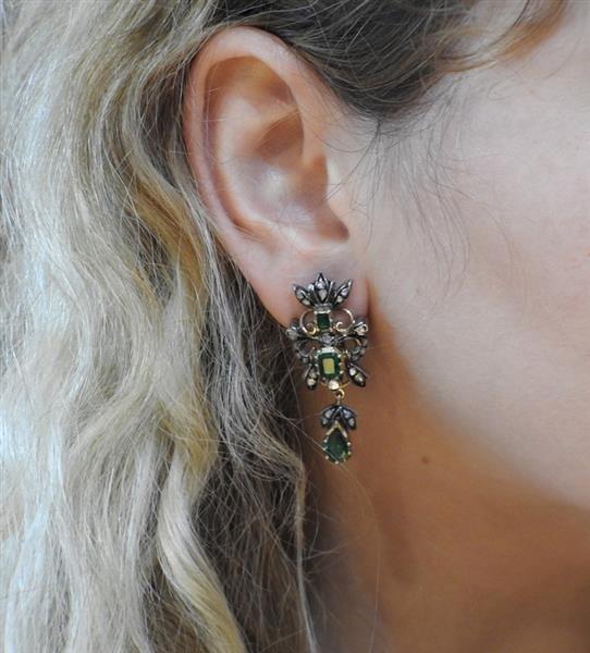 18k Gold Silver Diamond Emerald Drop Earrings - 5