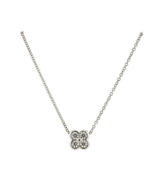 Tiffany & Co Platinum Diamond Flower Pendant - 2