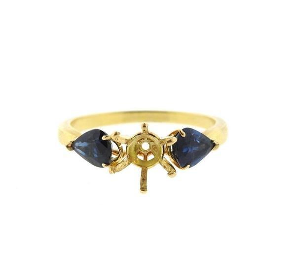 18k Gold Blue Stone Engagement Ring Setting