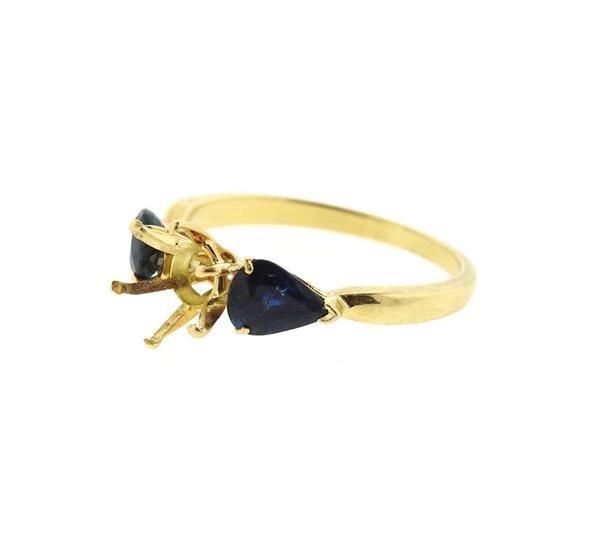 18k Gold Blue Stone Engagement Ring Setting - 2