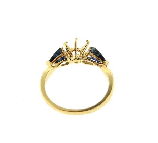 18k Gold Blue Stone Engagement Ring Setting - 3