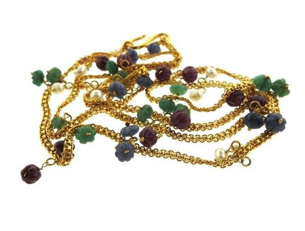 22K Gold Pearl Multi Gemstones Necklace - 3