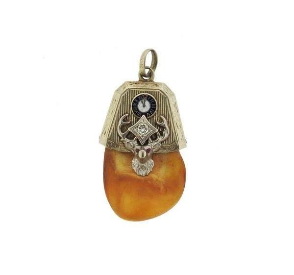Antique 14k Gold Elk's Tooth Diamond Pendant Charm