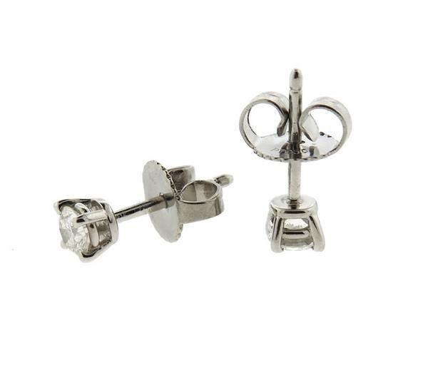 Tiffany & Co Platinum Diamond Stud Earrings - 2
