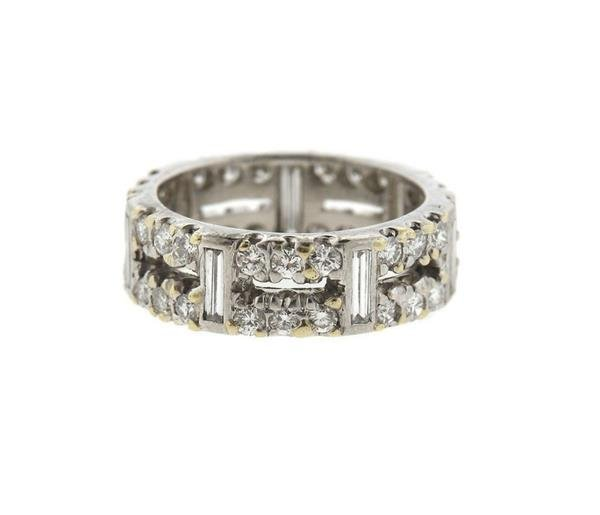 18k Gold Diamond Two Row Wedding Band Ring