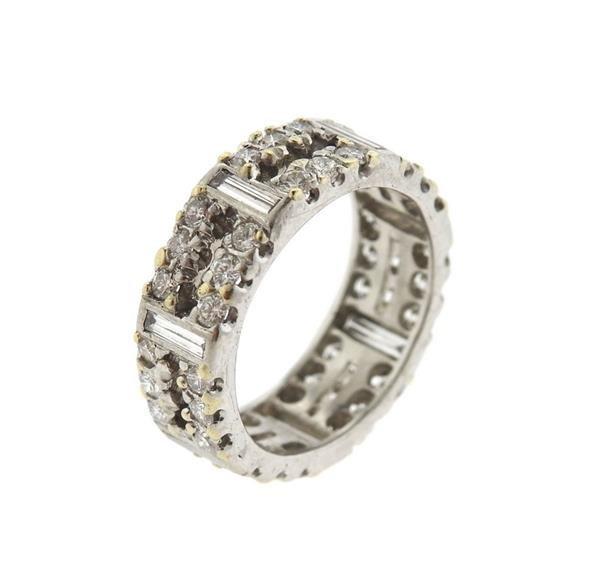 18k Gold Diamond Two Row Wedding Band Ring - 2