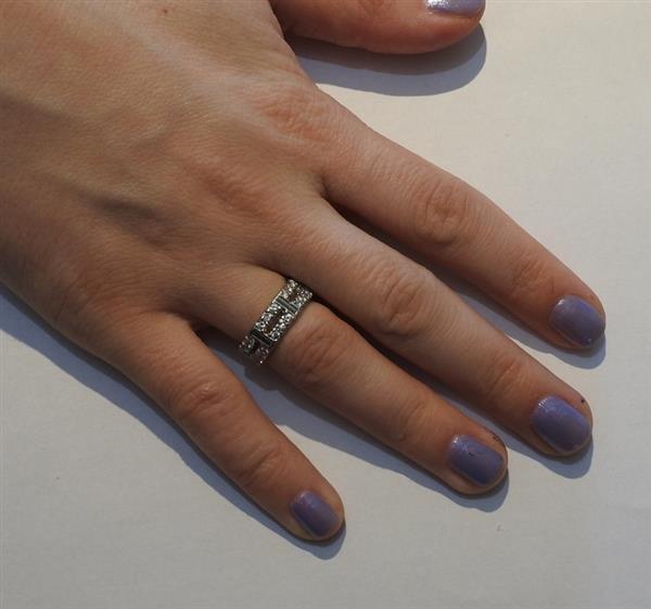 18k Gold Diamond Two Row Wedding Band Ring - 3