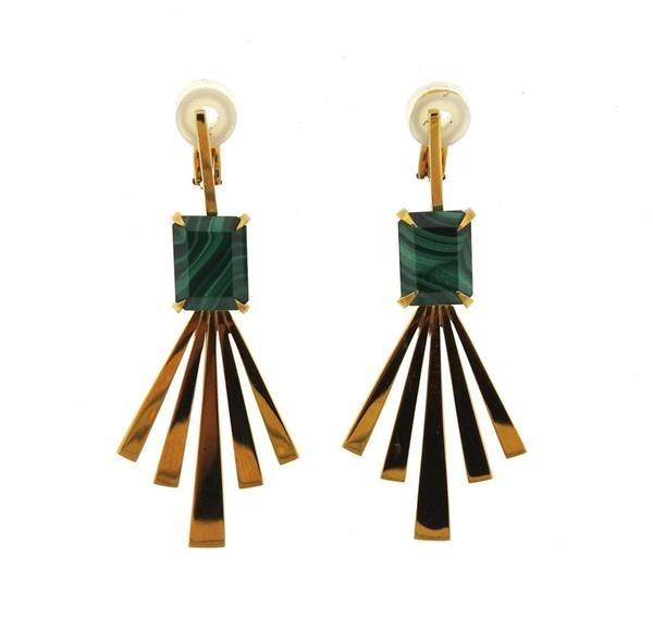 Jack Vartanian 18K Gold Malachite Earrings