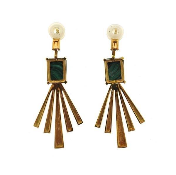 Jack Vartanian 18K Gold Malachite Earrings - 3