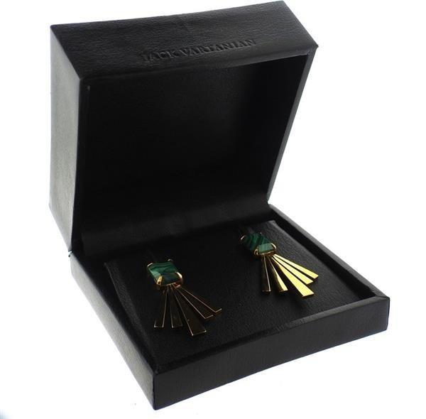 Jack Vartanian 18K Gold Malachite Earrings - 5