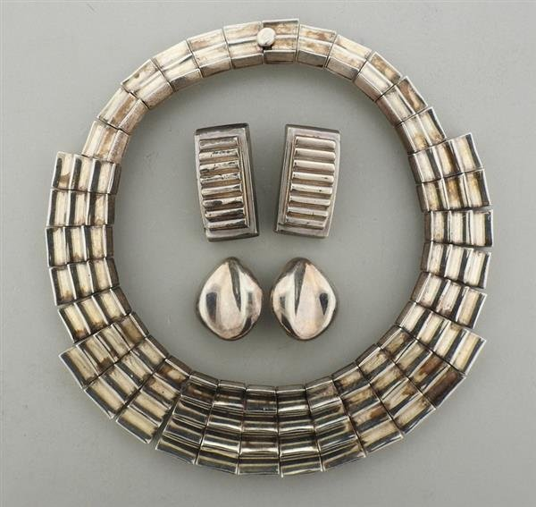 Mexican Sterling Large Necklace Earrings Lot