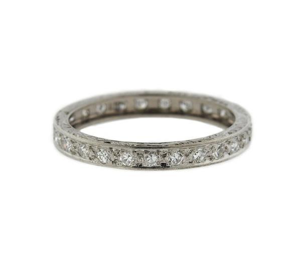Art Deco 18k Gold Diamond Eternity Wedding Band Ring