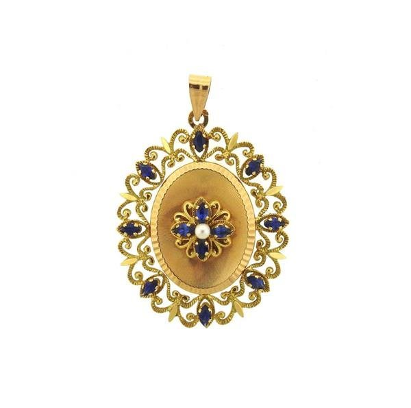 French 18k Gold Pearl Blue Stone Pearl Locket Pendant