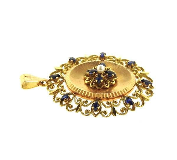 French 18k Gold Pearl Blue Stone Pearl Locket Pendant - 2