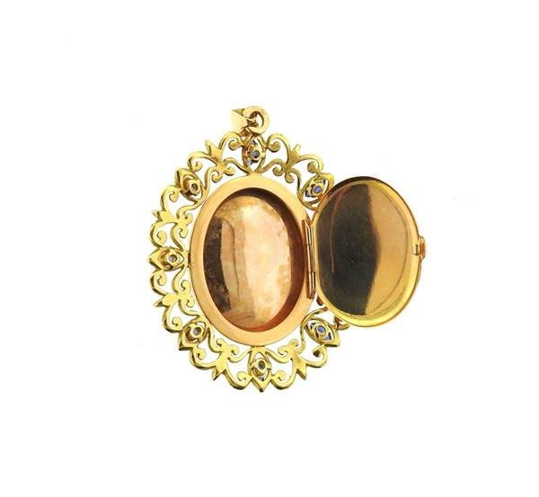 French 18k Gold Pearl Blue Stone Pearl Locket Pendant - 3