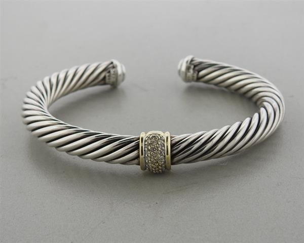 David Yurman Sterling 18k Gold Diamond Cable Bracelet