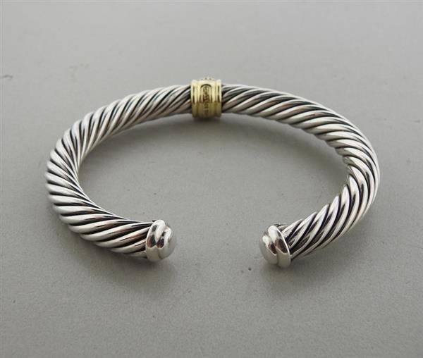 David Yurman Sterling 18k Gold Diamond Cable Bracelet - 3
