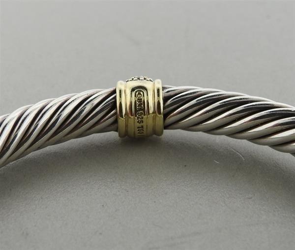 David Yurman Sterling 18k Gold Diamond Cable Bracelet - 4