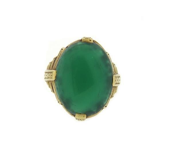 Art Deco 14k Gold Chrysoprase Cabochon Ring