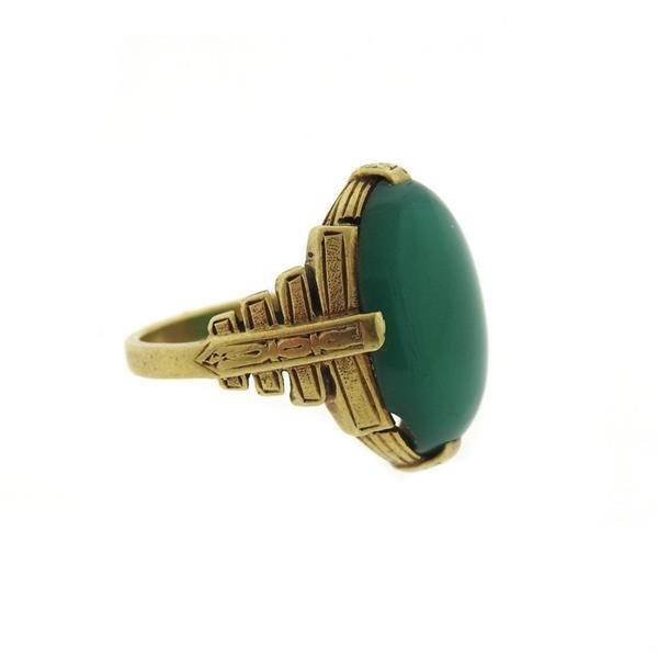 Art Deco 14k Gold Chrysoprase Cabochon Ring - 2