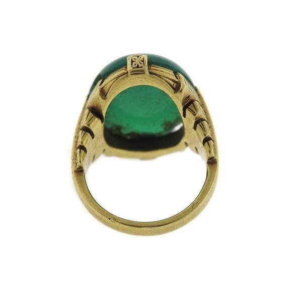 Art Deco 14k Gold Chrysoprase Cabochon Ring - 3