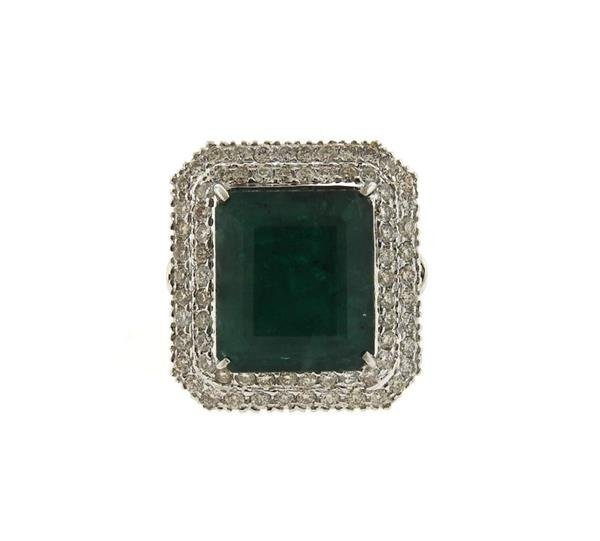18K Gold 12ct Emerald Diamond Cocktail Ring