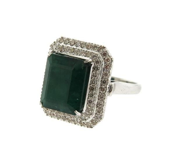 18K Gold 12ct Emerald Diamond Cocktail Ring - 2