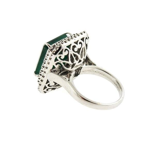 18K Gold 12ct Emerald Diamond Cocktail Ring - 3