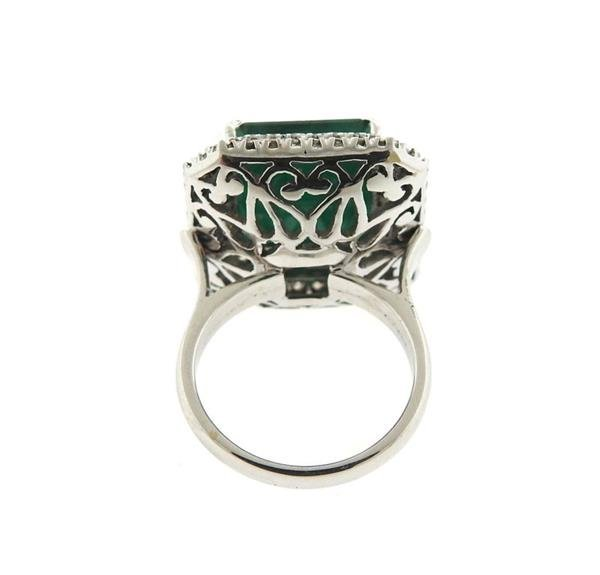 18K Gold 12ct Emerald Diamond Cocktail Ring - 4