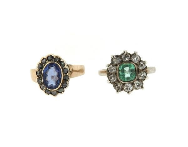 14k Gold Diamond Blue Green Stone Ring Lot of 2