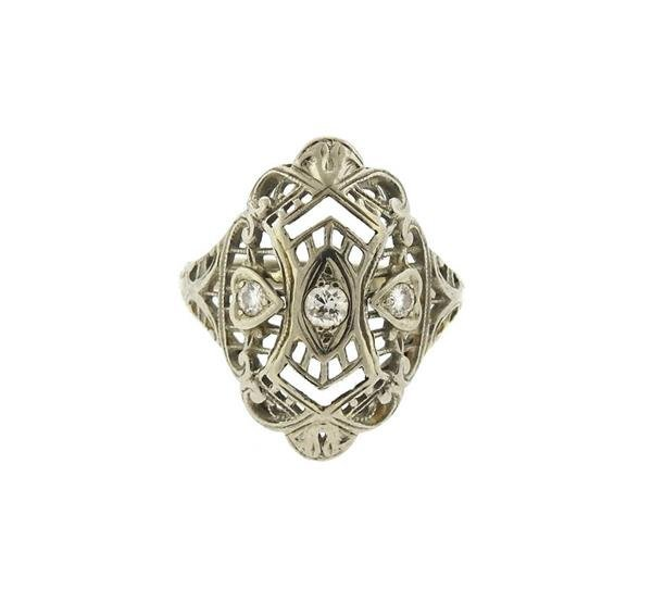 Art Deco Filigree 18K Gold Diamond Ring