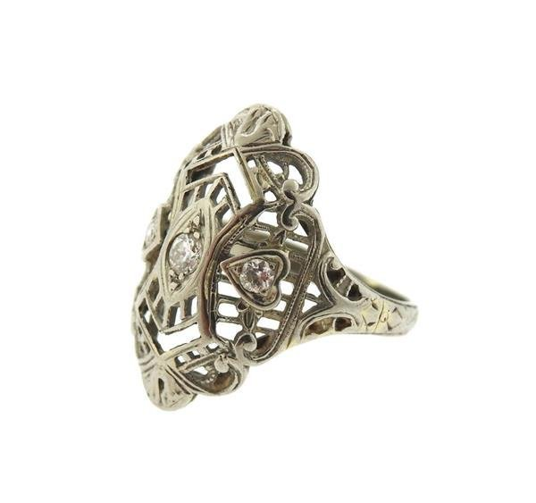 Art Deco Filigree 18K Gold Diamond Ring - 2