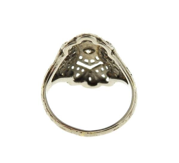 Art Deco Filigree 18K Gold Diamond Ring - 3