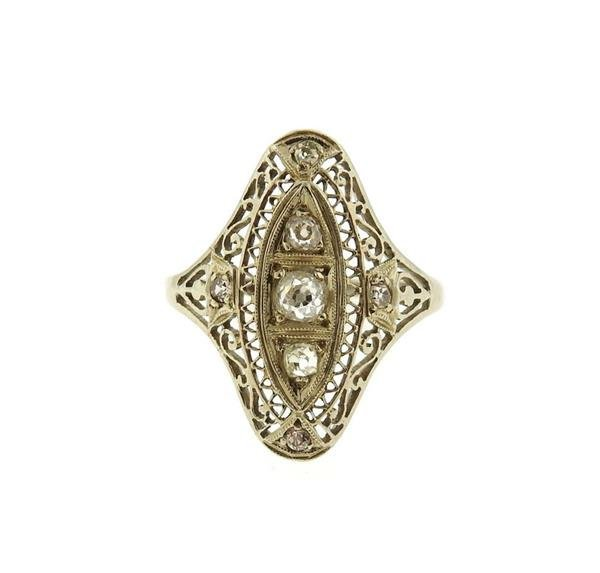 Art Deco Filigree 14k Gold Diamond Ring