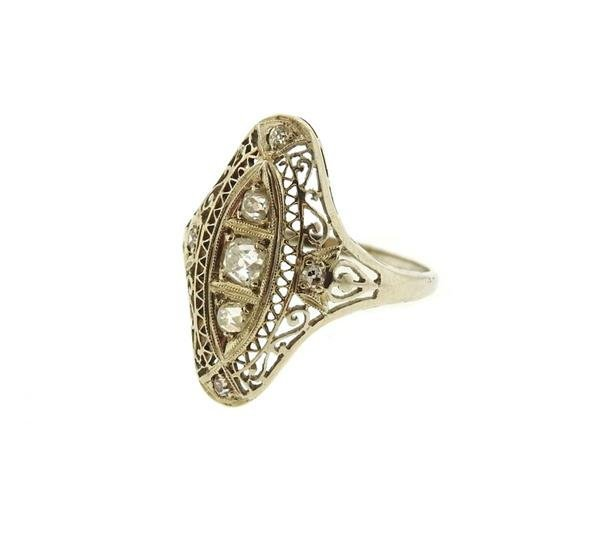 Art Deco Filigree 14k Gold Diamond Ring - 2