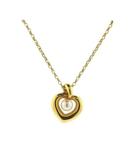 Mikimoto 18K Gold Pearl Heart Pendant Necklace - 2