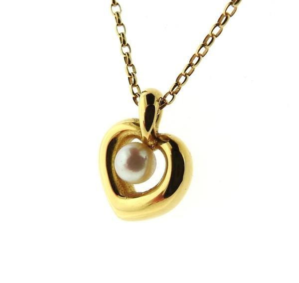 Mikimoto 18K Gold Pearl Heart Pendant Necklace - 3